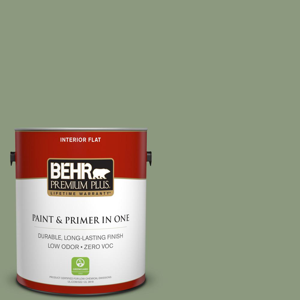 BEHR Premium Plus 1-gal. #ICC-76 Herbal Scent Zero VOC Flat Interior Paint