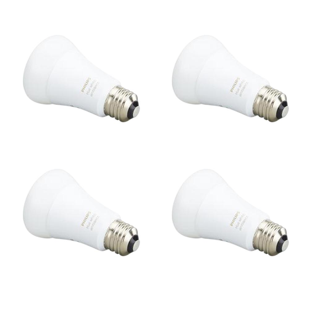 Philips Hue White Ambiance A19 LED 60W Equivalent Dimmable Smart Wireless  Lighting Starter Kit (4 Bulbs and Bridge)