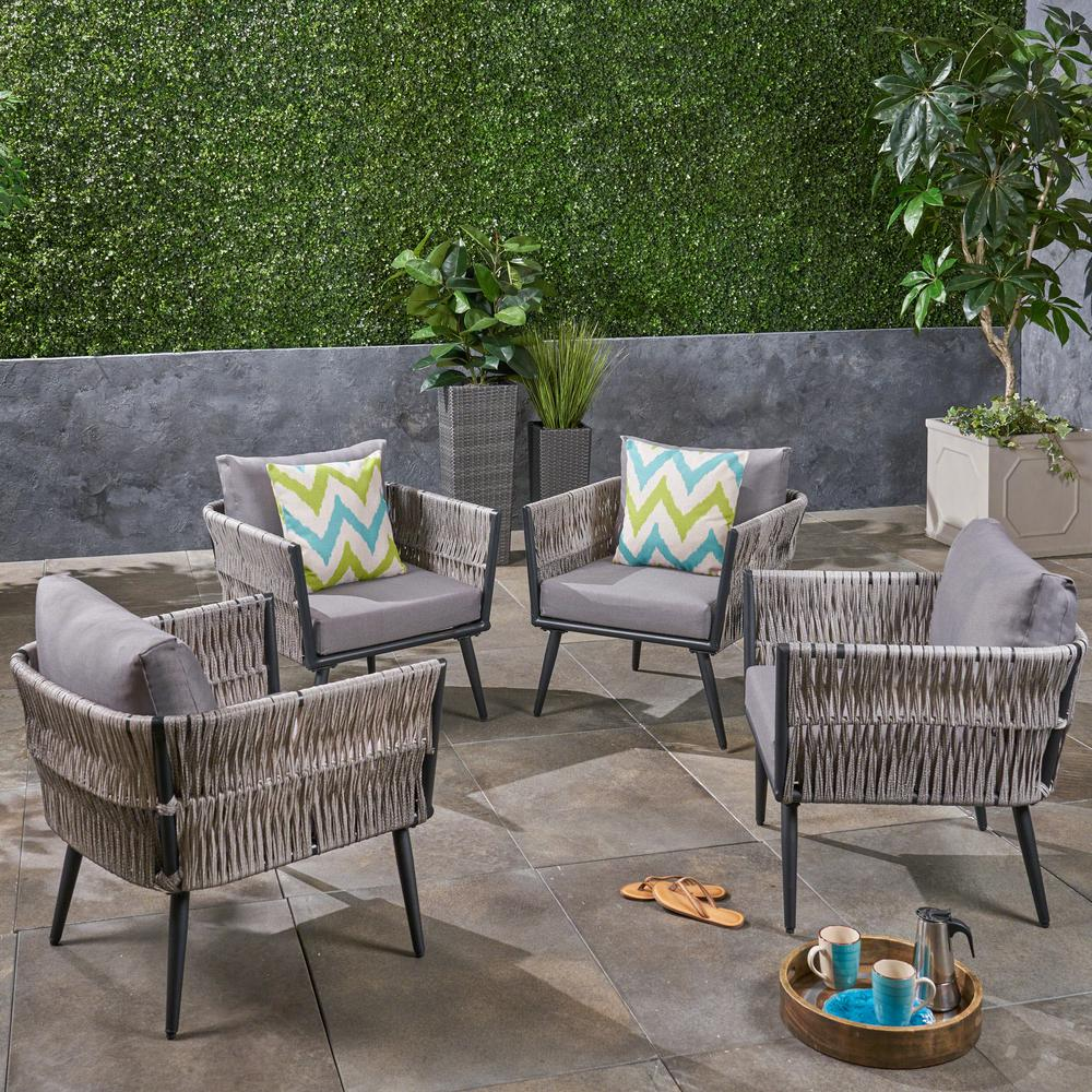 Terrific Noble House Oceanus Black Aluminum And Light Gray Wicker Armed Outdoor Lounge Chair With Dark Gray Cushions 4 Pack Pabps2019 Chair Design Images Pabps2019Com