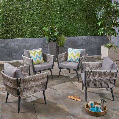 Oceanus Black Aluminum and Light Gray Wicker Armed Outdoor Lounge Chair with Dark Gray Cushions (4-Pack)