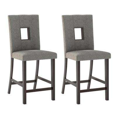 Bistro Grey Sand Fabric Counter Height Dining Chairs (Set of 2)