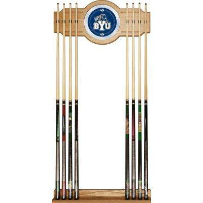 BYU 30 in. Wooden Billiard Cue Rack with Mirror