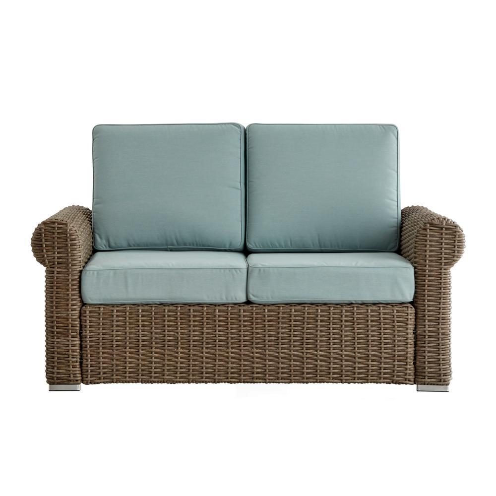Camari Mocha Rolled Arm Wicker Outdoor Loveseat with Blue Cushion