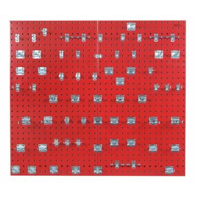 3/8 in. (2) Red Epoxy 18-Gauge Steel Square Hole Pegboards with Assortment Kit (63-Piece)
