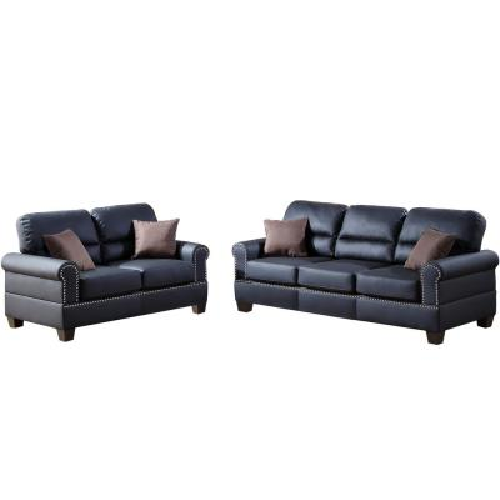 Sibillini 2-Piece Black Sofa Set Bonded Leather