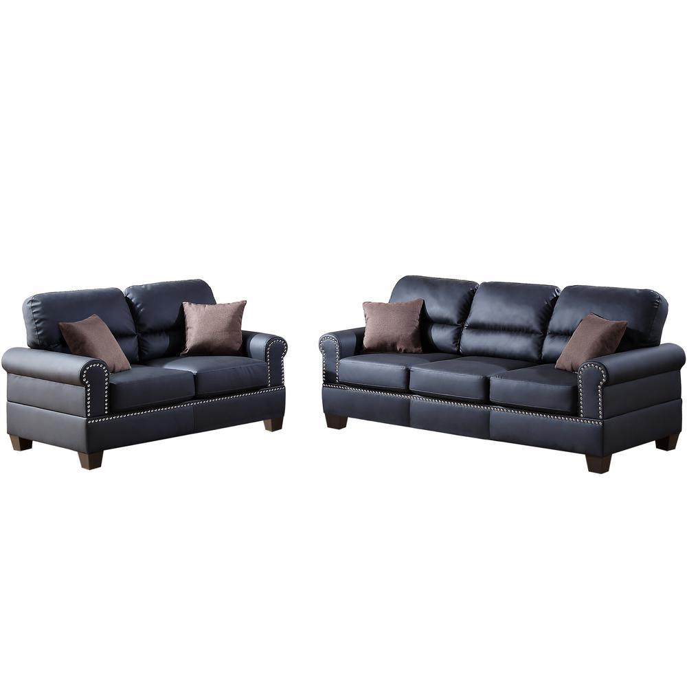 Black Sofa Set Bonded Leather