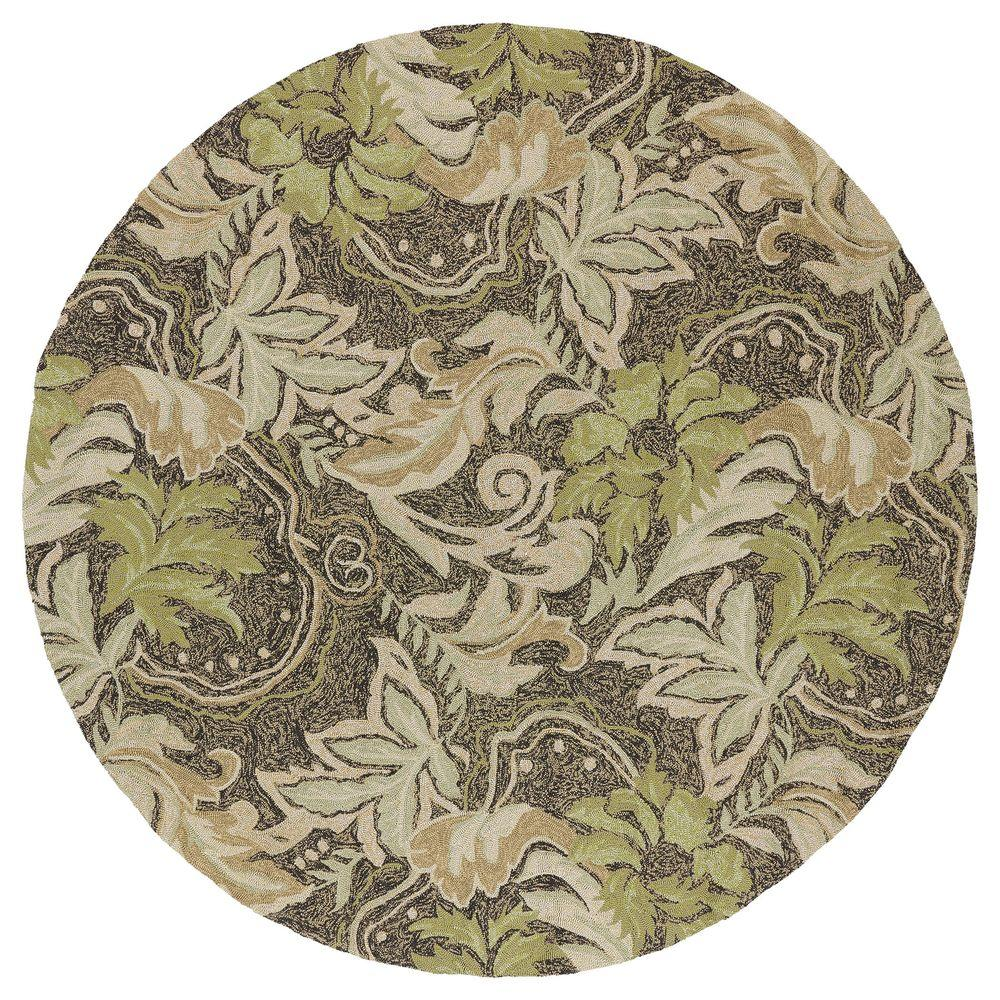 Kaleen Home and Porch Bluff Coffee 5 ft. 9 in. Indoor/Outdoor Round Area Rug