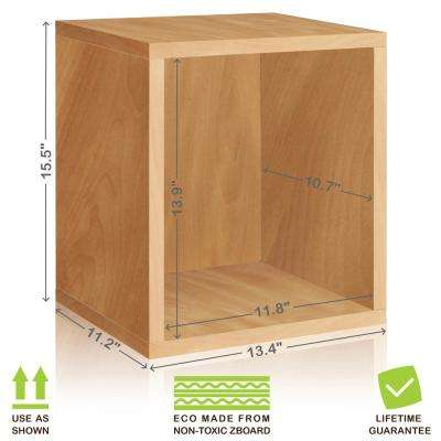 Eco Stackable zBoard 11.2 x 13.4 x 12.8 Tool-Free Assembly Tall Storage Cube Unit Organizer in Natural Grain