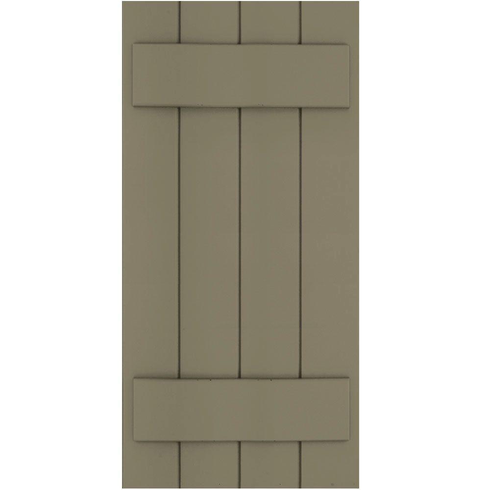 Winworks Wood Composite 15 in. x 32 in. Board & Batten Shutters Pair #660 Weathered Shingle