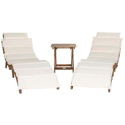 Pacifica Natural Brown 3-Piece Wood Outdoor Lounge Chair with Beige Cushion