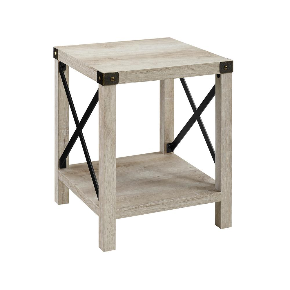 White Oak Rustic Urban Metal X Accent Side Table