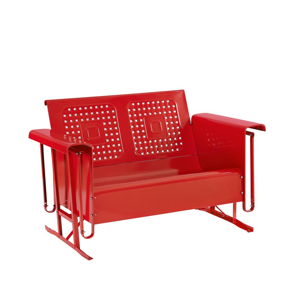 Marvelous Crosley Bates 2 Person Red Metal Outdoor Glider Onthecornerstone Fun Painted Chair Ideas Images Onthecornerstoneorg