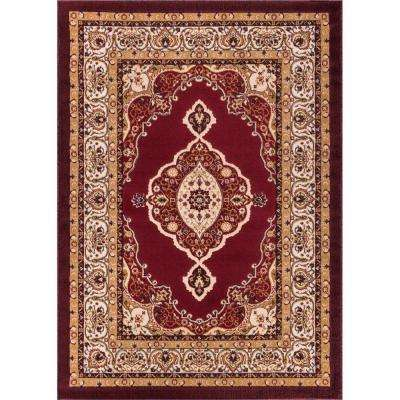 Dulcet Isfahan Medallion Red 9 ft. x 13 ft. Traditional Area Rug