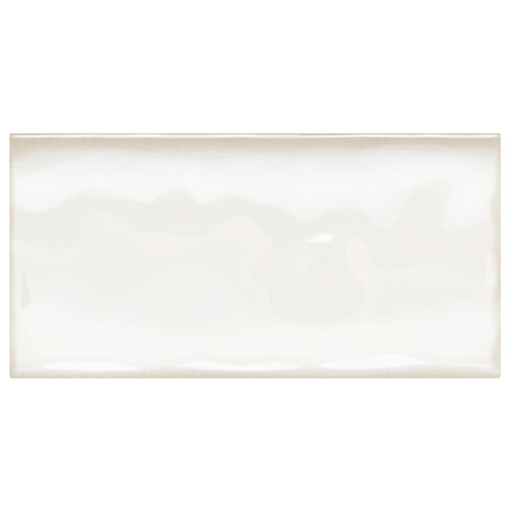 Structured Effects Minimal White 3 in. x 6 in. Glazed Ceramic