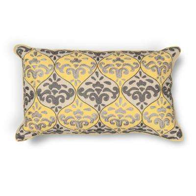 Yellow/Grey Damask 12 in. x 20 in. Decorative Pillow