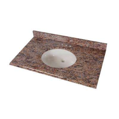 37 in. Stone Effects Vanity Top in Santa Cecilia with White Bowl