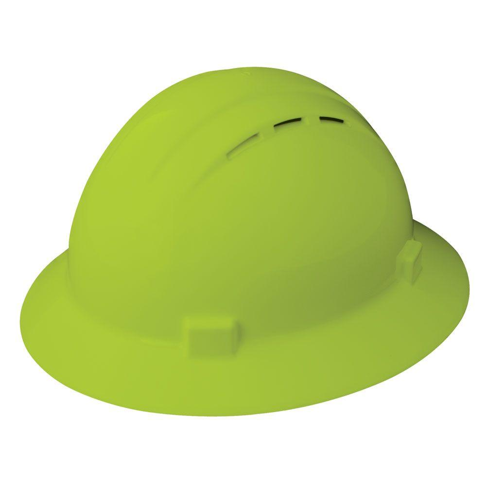 Vent 4 Point Nylon Suspension Slide-Lock Full Brim Hard Hat in