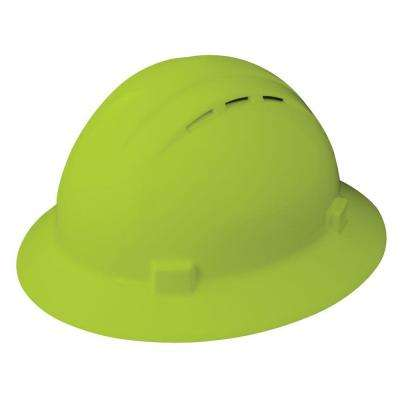 Vent 4 Point Nylon Suspension Mega Ratchet Full Brim Hard Hat in Hi Viz Lime
