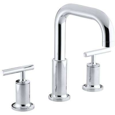 Purist Deck-Mount 8 in. Widespread 2-Handle High-Arc Bathroom Faucet Trim in Polished Chrome