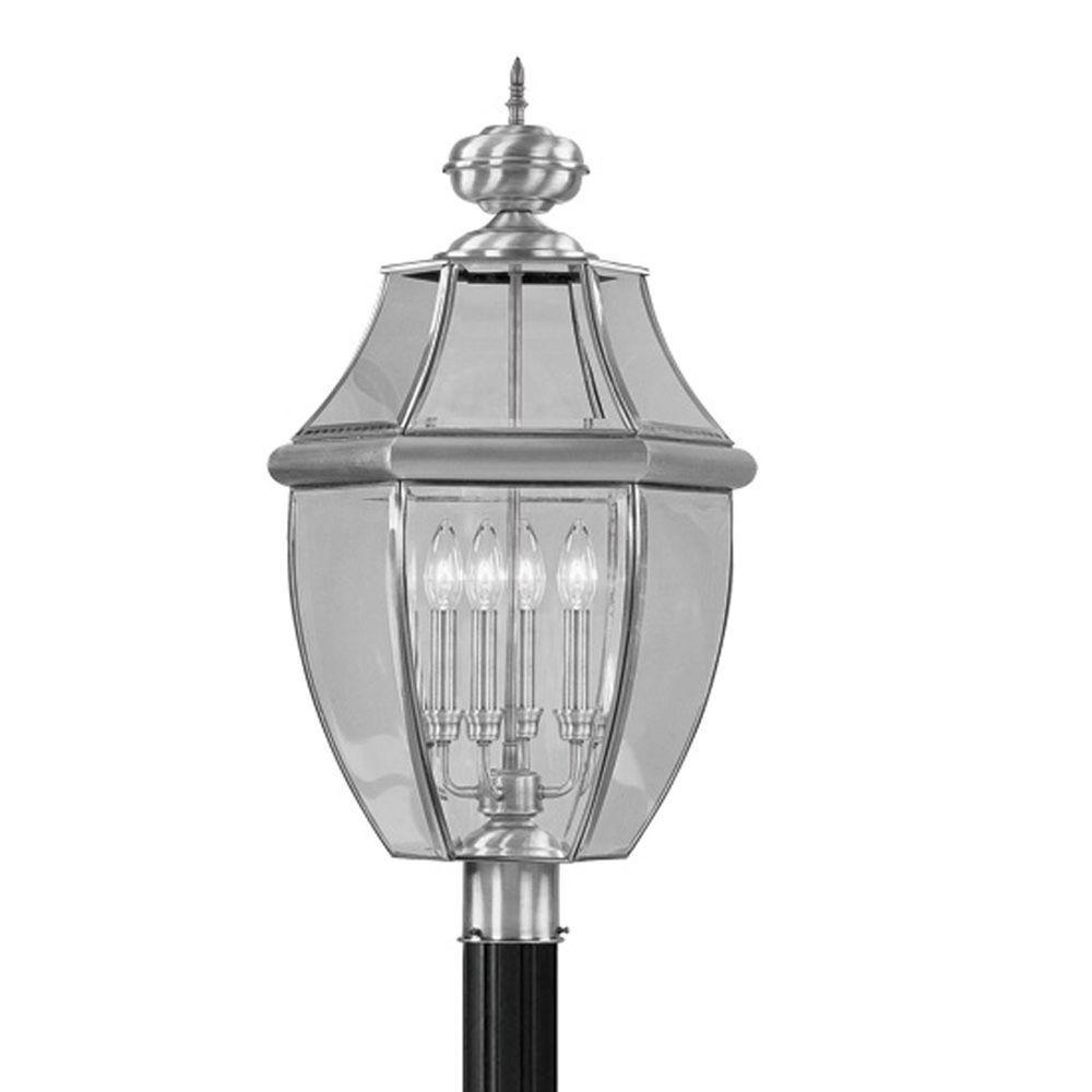 Livex Lighting Providence 4-Light Outdoor Brushed Nickel Incandescent Post Lantern
