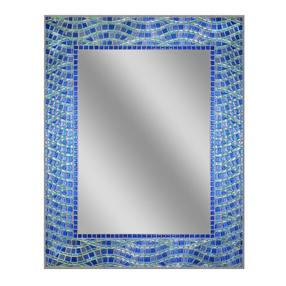24 in. x 30 in. Frameless Single Blue Ocean Mirror