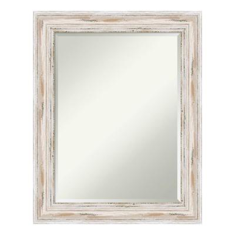 Alexandria White Wash Wood 23 in. x 29 in. Distressed Bathroom Vanity Mirror