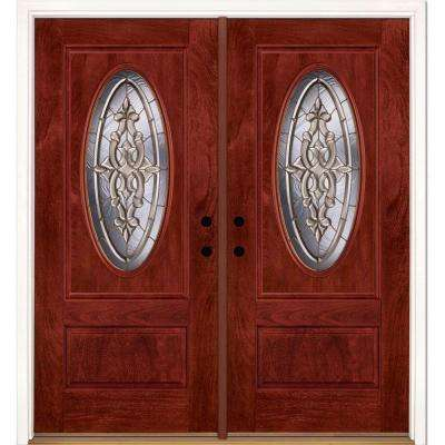 74 in.x81.625 in. Silverdale Brass 3/4 Oval Lite Stained Cherry Mahogany Left-Hand Fiberglass Double Prehung Front Door