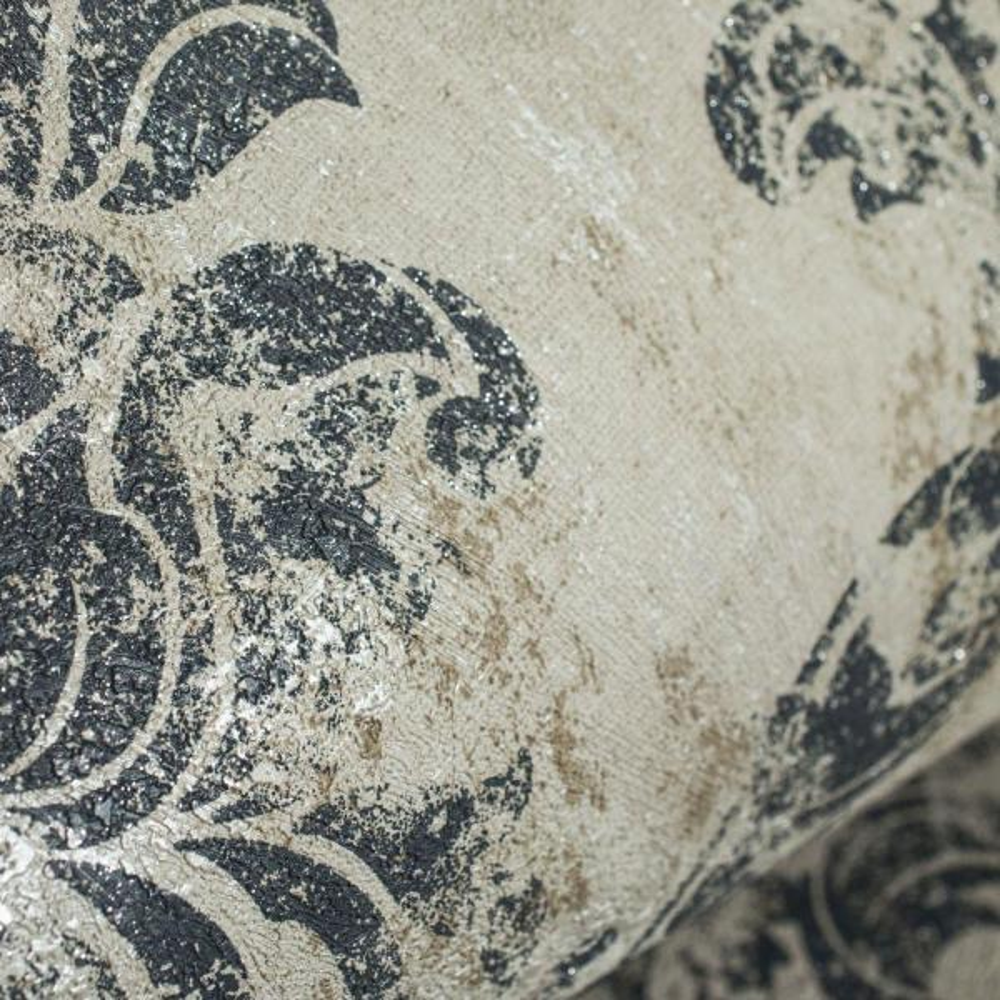Graham & Brown Opal Damask Charcoal and Gold Wallpaper Sample 10147094