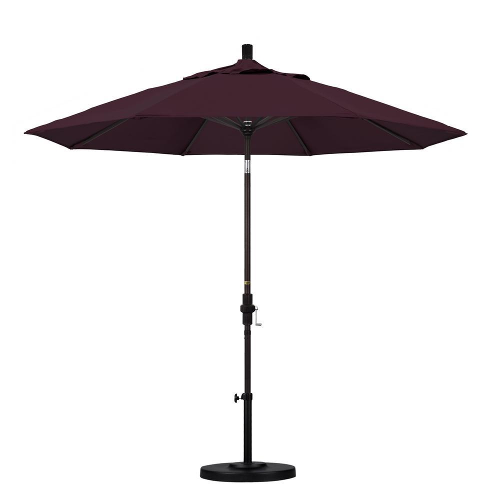 California Umbrella 9 Ft. Aluminum Collar Tilt Patio Umbrella In Purple  Pacifica