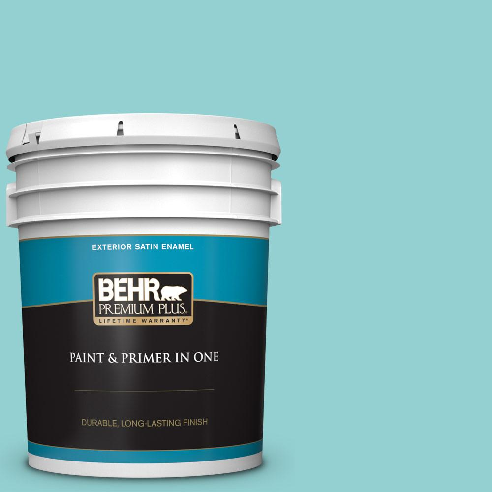Behr Premium Plus 5 Gal M460 3 Big Surf Satin Enamel Exterior Paint And Primer In One 905005 The Home Depot