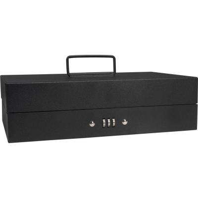 0.13 cu. ft. Steel Cash Box 4 Bill Holder and 6 Compartment Tray Safe with Combination Lock, Black