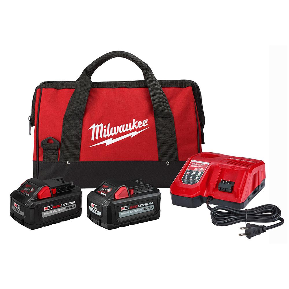 Milwaukee M18 18-Volt Lithium-Ion High Output Starter Kit with One 8.0 Ah and One 6.0 Ah Battery, Rapid Charger and Bag