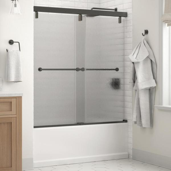 Everly 60 in. x 59-1/4 in. Mod Semi-Frameless Sliding Bathtub Door in Bronze and 1/4 in. (6mm) Rain Glass