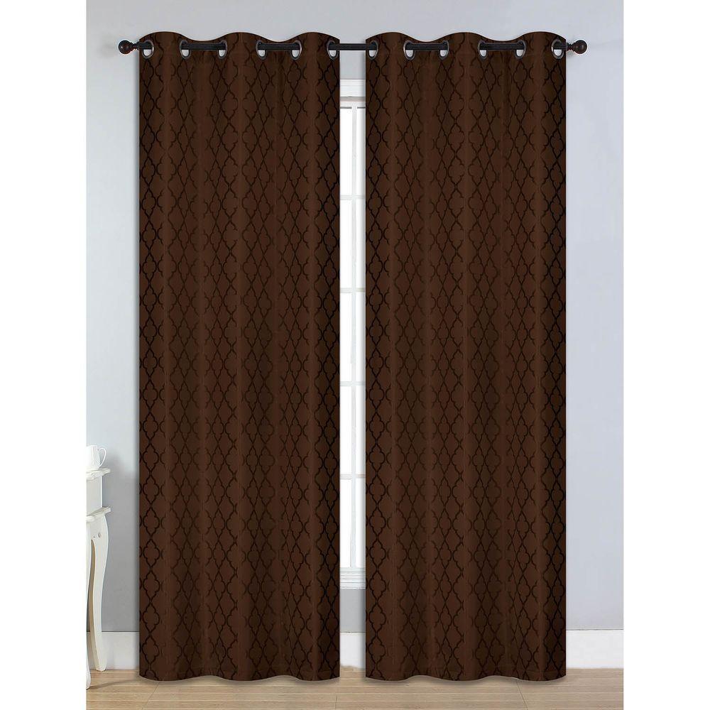 Bella Luna Semi-Opaque Quattro Jacquard 84 in. L Room Darkening Grommet Curtain Panel Pair, Chocolate (Set of 2)