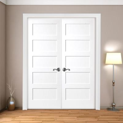 48 in. x 80 in. 5-Panel Shaker White Primed Solid Core Wood Double Prehung Interior Door with Nickel Hinges
