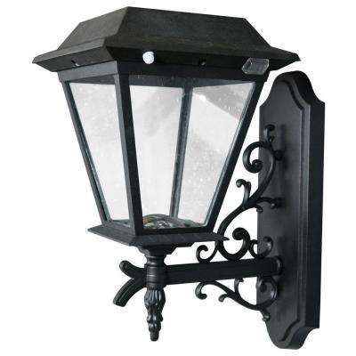 Stay On Whole Night 300-Lumen Wall-Mount Outdoor Black Solar LED Lamp