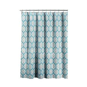 Creative Home Ideas Faux Linen Textured 70 inch W x 72 inch L Shower Curtain with Metal Roller Rings in Ikat Geo Aqua by Creative Home Ideas