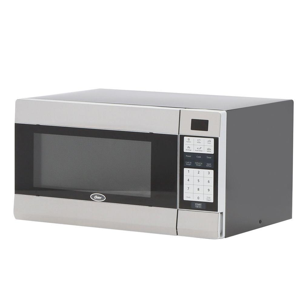 Oster 1.1 cu. ft. 1000-Watt Countertop Microwave in Black/Stainless Steel