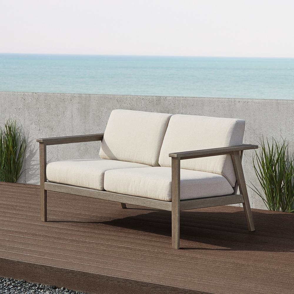 Real Flame Speer 59 in. 2-Person Gray Wash Eucalyptus Wood Outdoor Bench with Taupe Cushions