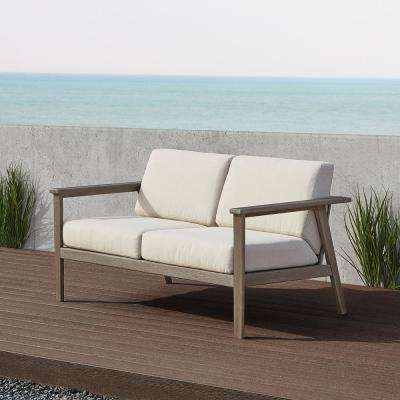 Speer 59 in. 2-Person Gray Wash Eucalyptus Wood Outdoor Bench with Taupe Cushions