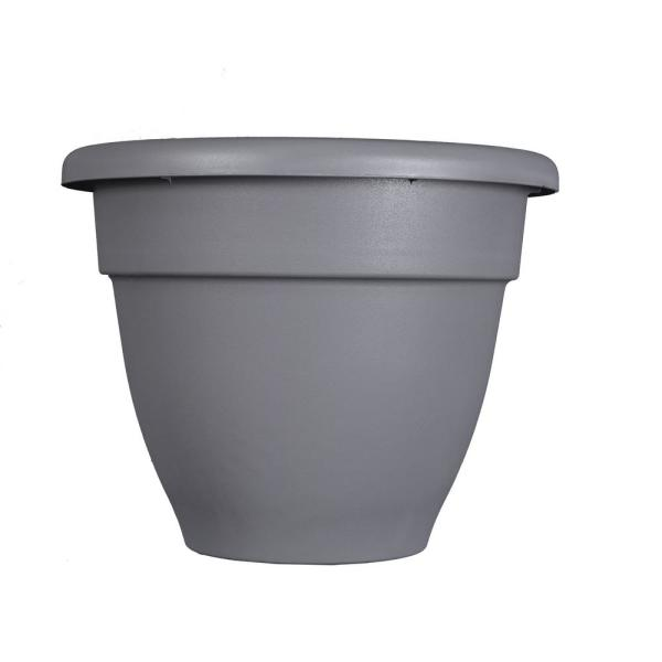 Caribbean 10 in. Dia Warm Gray Plastic Planter with Removable Drain Plug