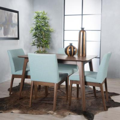 Kwame 5-Piece Mint Fabric and Natural Walnut 50 in. Rectangular Dining Set