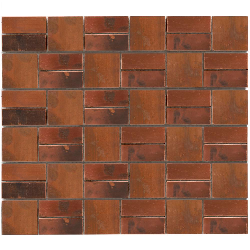 Merola Tile Patina Battery Park 11-3/4 in. x 13 in. x 8 mm Copper Mosaic Tile