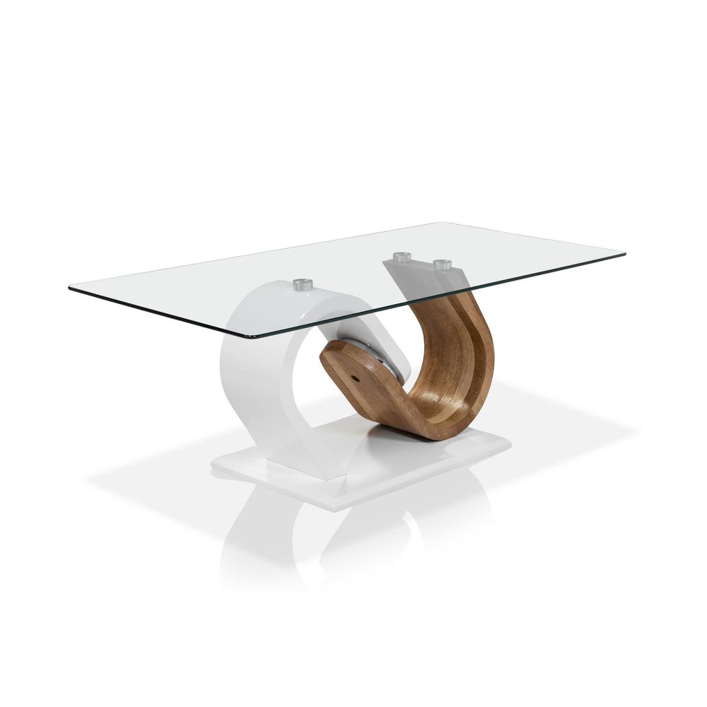 Janus 18.13 in. H White And Natural Tone Coffee Table