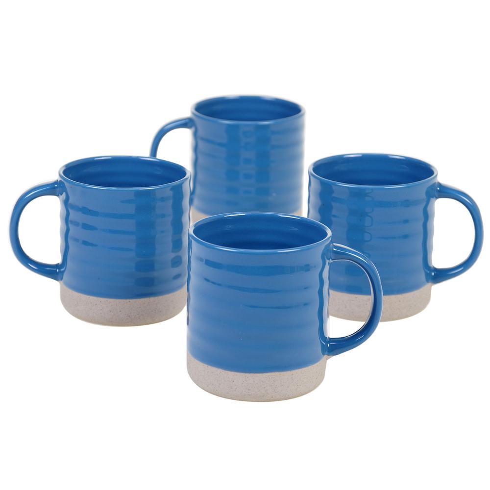 Artisan Blue 22 oz. Blue Mug (Set of 4)