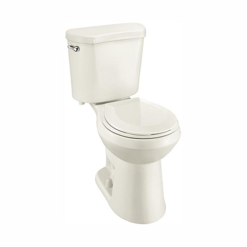 Glacier Bay 2-Piece 1.28 GPF High Efficiency Single Flush Round Toilet in Biscuit