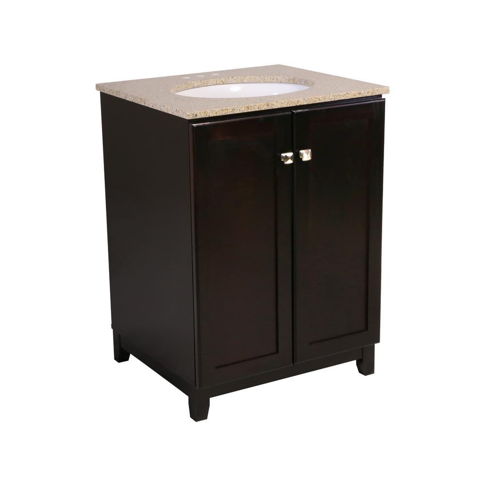 24 in. x 21 in. x 33 in. Shorewood 2-Door Vanity Cabinet with Golden Sand Granite Vanity Top with White Basin