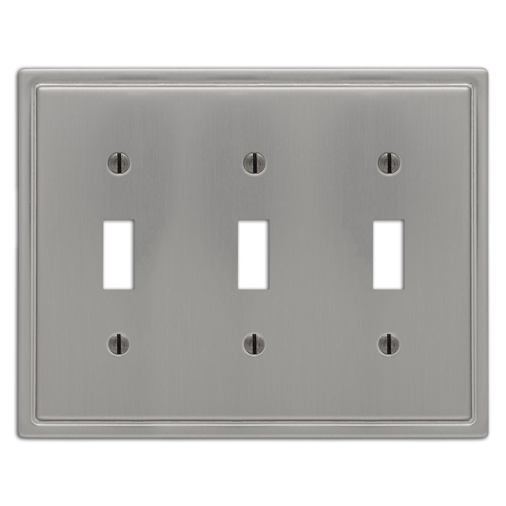Moderne 3 Gang Toggle Steel Wall Plate - Brushed Nickel