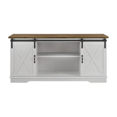 58 in. White and Rustic Oak Composite TV Console 64 in. with Doors