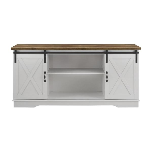 58 in. White and Rustic Oak Composite TV Stand 64 in. with Doors